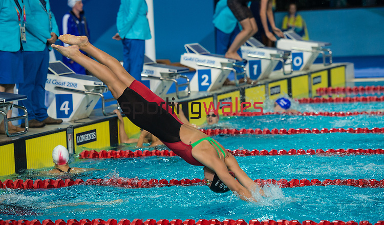 Wales Ellena Jones in action during the Womans 4x100m Freestyle relay <br /> <br /> *This image must be credited to Ian Cook Sportingwales and can only be used in conjunction with this event only*<br /> <br /> 21st Commonwealth Games - Swimming - Day 3 - 07\04\2018 - Gold Coast Optus Aquatic centre - Gold Coast City - Australia