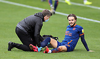 Blackpool's Luke Garbutt receives treatment before leaving the pitch injured early in the game<br /> <br /> Photographer Rich Linley/CameraSport<br /> <br /> The EFL Sky Bet League One - Crewe Alexandra v Blackpool - Saturday 17th October 2020 - Gresty Road - Crewe<br /> <br /> World Copyright © 2020 CameraSport. All rights reserved. 43 Linden Ave. Countesthorpe. Leicester. England. LE8 5PG - Tel: +44 (0) 116 277 4147 - admin@camerasport.com - www.camerasport.com