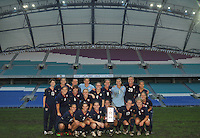 US Women's National Team poses with the Algarve Cup Champions Trophy at the 2010 Algarve Cup after their 3-2 victory over Germany in Faro, Portugal.