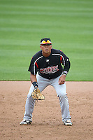 Trae Santos (16) of the Lake Elsinore Storm during a game against the Rancho Cucamonga Quakes at LoanMart Field on April 10, 2016 in Rancho Cucamonga, California. Lake Elsinore defeated Rancho Cucamonga, 7-6. (Larry Goren/Four Seam Images)