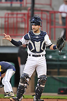 Burlington Bees catcher Harrison Wenson (12) in action against the Dayton Dragons at Community Field on May 2, 2018 in Burlington, Iowa.  (Dennis Hubbard/Four Seam Images)