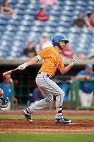 St. Lucie Mets center fielder Gene Cone (9) follows through on a swing during a game against the Clearwater Threshers on August 11, 2018 at Spectrum Field in Clearwater, Florida.  St. Lucie defeated Clearwater 11-0.  (Mike Janes/Four Seam Images)