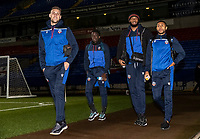(l-r): Bolton Wanderers' George Taft , Arthur Gnahoua , Reiss Greenidge and Brandon Comley arriving at the stadium <br /> <br /> Photographer Andrew Kearns/CameraSport<br /> <br /> The EFL Sky Bet League Two - Bolton Wanderers v Salford City - Friday 13th November 2020 - University of Bolton Stadium - Bolton<br /> <br /> World Copyright © 2020 CameraSport. All rights reserved. 43 Linden Ave. Countesthorpe. Leicester. England. LE8 5PG - Tel: +44 (0) 116 277 4147 - admin@camerasport.com - www.camerasport.com