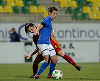 20180307 - LARNACA , CYPRUS : Italian Cristiana Girelli (r) pictured in a duel with Spanish Andrea Pereira Cejudo (left) during a women's soccer game between Italy and Spain , on wednesday 7 March 2018 at the AEK Arena in Larnaca , Cyprus . This is the final game for the first place  for  Italy and  Spain on the Cyprus Womens Cup , a prestigious women soccer tournament as a preparation on the World Cup 2019 qualification duels. PHOTO SPORTPIX.BE | DAVID CATRY