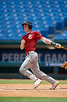 Cole Mathis (12) of Harris County High School in Cataula, GA during the Perfect Game National Showcase at Hoover Metropolitan Stadium on June 18, 2020 in Hoover, Alabama. (Mike Janes/Four Seam Images)