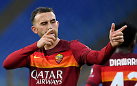 Football, Serie A: AS Roma - Bologna, Olympic stadium, Rome, April 11, 2021. <br /> Roma's Borja Mayoral (r) celebrates after scoring during the Italian Serie A football match between AS Roma and Bologna at Rome's Olympic stadium, Rome, on April 11, 2021.  <br /> UPDATE IMAGES PRESS/Isabella Bonotto