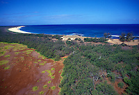 Aerial view of Niihau, looking towards the ocean with red earth and trees below