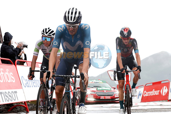 Enric Mas Nicolau (ESP) Movistar Team and White Jersey Egan Bernal Gomez (COL) Ineos Grenadiers cross the line in 6th and 7th place with Gino Mäder (SUI) Bahrain Victorious behind at the end of Stage 17 of La Vuelta d'Espana 2021, running 185.8km from Unquera to Lagos de Covadonga, Spain. 1st September 2021.    <br /> Picture: Luis Angel Gomez/Photogomezsport | Cyclefile<br /> <br /> All photos usage must carry mandatory copyright credit (© Cyclefile | Luis Angel Gomez/Photogomezsport)