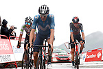 Enric Mas Nicolau (ESP) Movistar Team and White Jersey Egan Bernal Gomez (COL) Ineos Grenadiers cross the line in 6th and 7th place with Gino Mäder (SUI) Bahrain Victorious behind at the end of Stage 17 of La Vuelta d'Espana 2021, running 185.8km from Unquera to Lagos de Covadonga, Spain. 1st September 2021.    <br /> Picture: Luis Angel Gomez/Photogomezsport   Cyclefile<br /> <br /> All photos usage must carry mandatory copyright credit (© Cyclefile   Luis Angel Gomez/Photogomezsport)