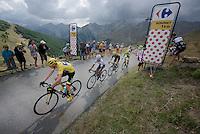 the 'yellow jersey group' / overall contenders Chris Froome (GBR/SKY), Nairo Quintana (COL/Movistar), Alejandro Valverde (ESP/Movistar) & Alberto Contador (ESP/Tinkoff-Saxo) up the Col d'Allos (1C/2250m/14km/5.5%)<br /> <br /> stage 17: Digne-les-Bains - Pra Loup (161km)<br /> 2015 Tour de France