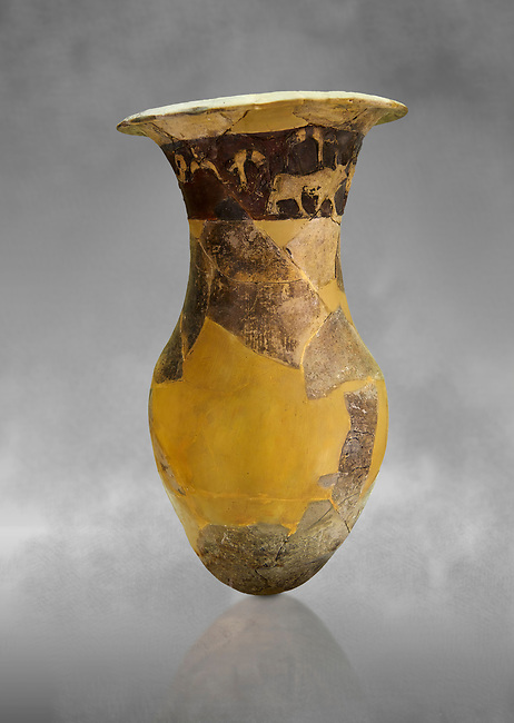 Hüseyindede vases, Old Hittite Po;ychrome Relief vessel, partially finished, 16th century BC. Çorum Archaeological Museum, Corum, Turkey. Against a grey bacground.