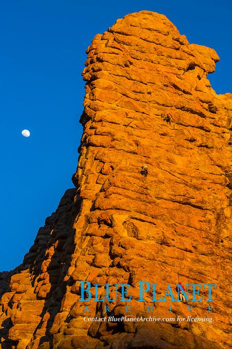 rock climbers, climbing on rocky mountain wall, moon, Mount Teide volcano, Teide National Park, La Orotava, Tenerife, Canary Islands, Spain