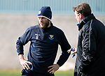 St Johnstone Training….Manager Tommy Wright talks with Murray Davidson during training at McDiarmid Park ahead of Sundays game against Celtic.<br />Picture by Graeme Hart.<br />Copyright Perthshire Picture Agency<br />Tel: 01738 623350  Mobile: 07990 594431