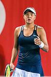 Sabina Sharipova of Uzbekistan in action during the Prudential Hong Kong Tennis Open 2018 match between Sabina Sharipova (UZB) and Shuai Zhang (CHN) at Victoria Park Tennis Stadium on October 09 2018 in Hong Kong, Hong Kong. Photo by Marcio Rodrigo Machado / Power Sport Images