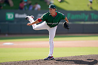 Pitcher Zach Bryant (21) of the Greenville Drive in a game against the Asheville Tourists on Sunday, June 6, 2021, at Fluor Field at the West End in Greenville, South Carolina. (Tom Priddy/Four Seam Images)