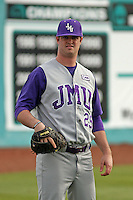 James Madison University pitcher Sean Tierney #29 during a game against the Coastal Carolina Chanticleers at Watson Stadium at Vrooman Field on February 17, 2012 in Conway, SC.  Coastal Carolina defeated James Madison 7-1.  (Robert Gurganus/Four Seam Images)