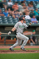 Clinton LumberKings Evan Edwards (18) at bat during a Midwest League game against the Great Lakes Loons on July 19, 2019 at Dow Diamond in Midland, Michigan.  Clinton defeated Great Lakes 3-2.  (Mike Janes/Four Seam Images)
