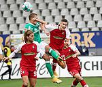 17.10.2020, Schwarzwald Stadion, Freiburg, GER, 1.FBL, SC Freiburg vs SV Werder Bremen<br /> <br /> im Bild / picture shows<br /> Lucas Höler (Freiburg), Ludwig Augustinsson (Bremen), Roland Sallai (Freiburg)<br /> <br /> Foto © nordphoto / Bratic<br /> <br /> DFL REGULATIONS PROHIBIT ANY USE OF PHOTOGRAPHS AS IMAGE SEQUENCES AND/OR QUASI-VIDEO.