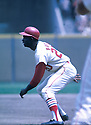 St. Louis Cardinal Lou Brock (20),  during a game from his career with the Cardinals at Busch Memorial Stadium in St. Louis, Missouri.  Lou Brock played for 19 years for 2 teams, was a 6-time All-Star and was inducted to the Baseball Hall of Fame in 1985.