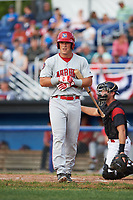 Auburn Doubledays designated hitter Chance Shepard (23) at bat during a game against the Batavia Muckdogs on June 19, 2017 at Dwyer Stadium in Batavia, New York.  Batavia defeated Auburn 8-2 in both teams opening game of the season.  (Mike Janes/Four Seam Images)