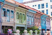 Singapore Koon Seng Road, Joo Chiat District, Row of Restored Shop Houses.