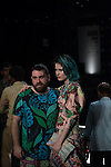 9 October 2013, New Delhi, India: Luke Sales and Anna Plunkett during preparations backstage for their runway show at the Australian High Commission sponsored fashion show at Wills Lifestyle India Fashion Week. The show featured Romance Was Born deigns. Fashion Week also featured scarves designed by former Australian cricketer Brett Lee. Picture by Graham Crouch/ Australian High Commission