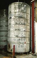 Domaine des Vieux Foudres, Languedoc. Concrete fermentation and storage vats. France. Europe.