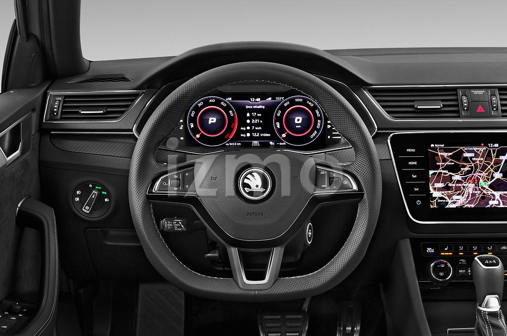 Car pictures of steering wheel view of a 2020 Skoda Superb-Combi Sportline-4wd 5 Door Wagon Steering Wheel