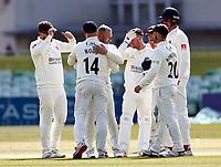 Matt Parkinson (3rd L) of Lancashire is congratulated after taking the wicket of Matt Milnes during Kent CCC vs Lancashire CCC, LV Insurance County Championship Group 3 Cricket at The Spitfire Ground on 25th April 2021
