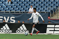 FOXBOROUGH, UNITED STATES - MAY 28: Christian Lue Young #19 of Fort Lauderdale CF passes the ball during a game between Fort Lauderdale CF and New England Revolution II at Gillette Stadium on May 28, 2021 in Foxborough, Massachusetts.
