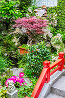Yangzhou, Jiangsu, China.  Decorations in a Small Traditional Chinese Garden.