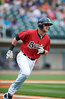 Birmingham Barons third baseman Trey Michalczewski (8) runs to first during a game against the Pensacola Blue Wahoos on May 2, 2016 at Regions Field in Birmingham, Alabama.  Pensacola defeated Birmingham 6-3.  (Mike Janes/Four Seam Images)