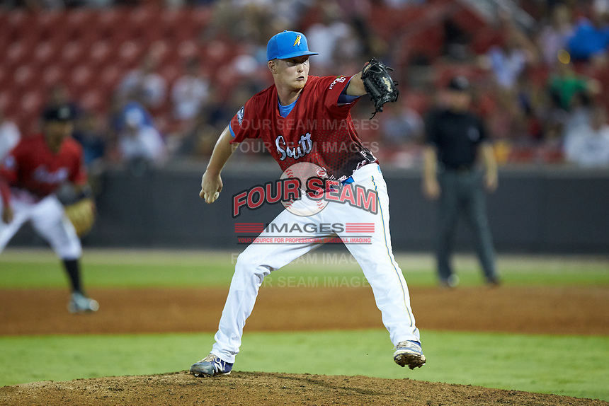 South Division pitcher Tyler Peyton (39) of the Myrtle Beach Pelicans in action during the 2018 Carolina League All-Star Classic at Five County Stadium on June 19, 2018 in Zebulon, North Carolina. The South All-Stars defeated the North All-Stars 7-6.  (Brian Westerholt/Four Seam Images)
