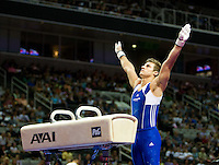 Sam Mikulak of University of Michigan gets ready to get on Pommel horse during the 2012 US Olympic Trials competition at HP Pavilion in San Jose, California on June 28th, 2012.