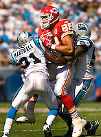 Carolina Panthers cornerback Richard Marshall (31) hits Kansas City Chiefs tight end Tony Gonzalez (88) during a NFL football game at Bank of America Stadium in Charlotte, NC.