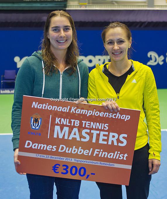 21-12-13,Netherlands, Rotterdam,  Topsportcentrum, Tennis Masters, Runners up lady's final doubles: Danielle Harmsen and Olga Kalyuzhnaya(R)(NED)<br /> Photo: Henk Koster