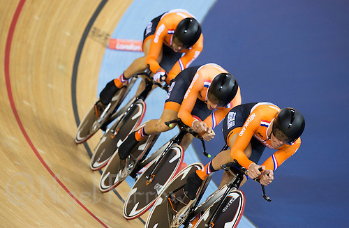 03 AUG 2012 - LONDON, GBR - The men's team from the Netherlands (NED) race against Russia during their Team Pursuit first round race at the London 2012 Olympic Games in the Olympic Park Velodrome in Stratford, London, Great Britain (PHOTO (C) 2012 NIGEL FARROW)