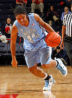 CHARLOTTESVILLE, VA- JANUARY 5: Tierra Ruffin-Pratt #44 of the North Carolina Tar Heels handles the ball during the game against the Virginia Cavaliers on January 5, 2012 at the John Paul Jones arena in Charlottesville, Virginia. North Carolina defeated Virginia 78-73. (Photo by Andrew Shurtleff/Getty Images) *** Local Caption *** Tierra Ruffin-Pratt