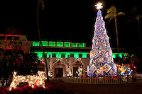 Christmas comes to Hawai'i with the annual lighting of the Christmas tree in the courtyard of Honolulu Hale, downtown Honolulu, O'ahu; the holiday decorations at the seat of the city and county government attracts locals and tourists alike.