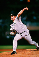 David Wells of the New York Yankees pitches against the San Diego Padres during the 1998 World Series at Qualcomm Stadium in San Diego, California. (Larry Goren/Four Seam Images)
