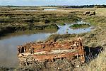 Wallasea island Essex Wild Coast Project RSPB nature reserve, abandoned pontoons. 2016 UK