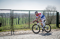 Mathieu Van der Poel (NED/Alpecin-Fenix) atop the Taaienberg <br /> <br /> 76th Dwars door Vlaanderen 2021 (MEN1.UWT)<br /> 1 day race from Roeselare to Waregem (184km)<br /> <br /> ©kramon