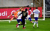 LOS ANGELES, CA - SEPTEMBER 02: Jose Cifuentes #11 of the LAFC scores a goal and begins to celebrate during a game between San Jose Earthquakes and Los Angeles FC at Banc of California stadium on September 02, 2020 in Los Angeles, California.