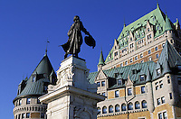 Statue of Samuel Champlain and the Chateau Frontenac