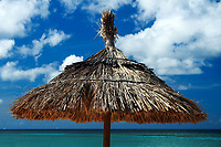 Thatched beach sunroof close-up on the turquoise sea under a blue sky with white clouds, French Martinique Island, Caribbean Windward Islands
