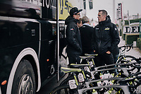 freshly retired rider / newest DS Mathew Hayman at the Mitchelton-Scott teambus ahead of the 71th Kuurne-Brussel-Kuurne 2019 <br /> <br /> Kuurne to Kuurne (BEL): 201km<br /> <br /> ©kramon