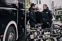 freshly retired rider / newest DS Mathew Hayman at the Mitchelton-Scott teambus ahead of the 71th Kuurne-Brussel-Kuurne 2019 <br /> <br /> Kuurne to Kuurne (BEL): 201km<br /> <br /> ©kramon