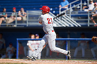 Auburn Doubledays first baseman David Kerian (21) at bat during the first game of a doubleheader against the Batavia Muckdogs on September 4, 2016 at Dwyer Stadium in Batavia, New York.  Batavia defeated Auburn 1-0 in a continuation of a game started on August 13. (Mike Janes/Four Seam Images)