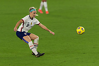 ORLANDO CITY, FL - FEBRUARY 18: Julie Ertz #8 passes the ball during a game between Canada and USWNT at Exploria stadium on February 18, 2021 in Orlando City, Florida.