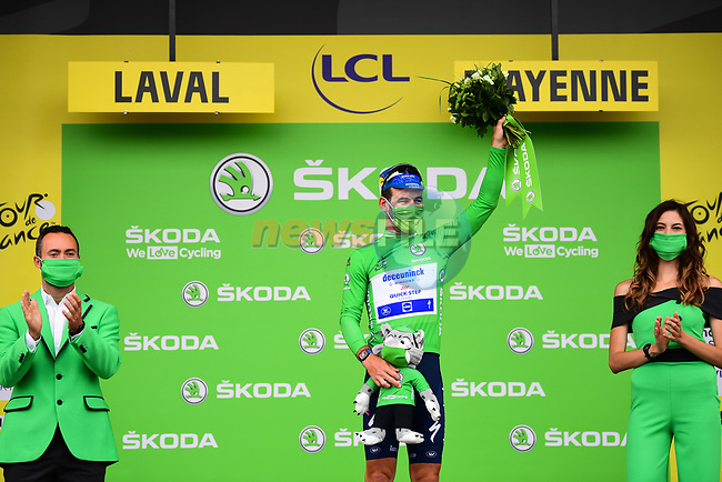 Mark Cavendish (GBR) Deceuninck-Quick Step retains the points Green Jersey at the end of Stage 5 of the 2021 Tour de France, an individual time trial running 27.2km from Change to Laval, France. 30th June 2021.  <br /> Picture: A.S.O./Pauline Ballet | Cyclefile<br /> <br /> All photos usage must carry mandatory copyright credit (© Cyclefile | A.S.O./Pauline Ballet)
